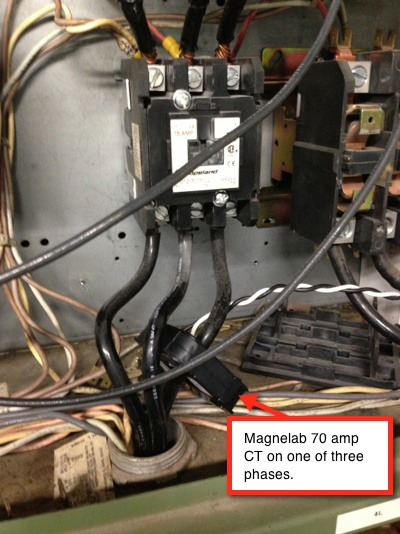 Magnelab 70 amp CT on one of three phases